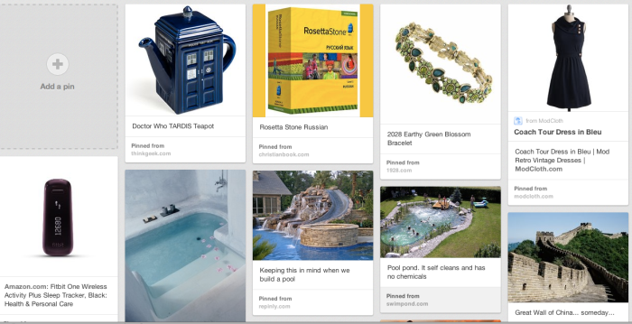 Some of my short term and long term goals: knick knacks, jewelry, travel and awesome pools for my imaginary home.